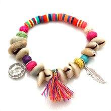 Coloré africain vinyle Heishi polymère argile coquillage Bracelet extensible femmes hommes Boho glands plume beauté figure Surf bijoux