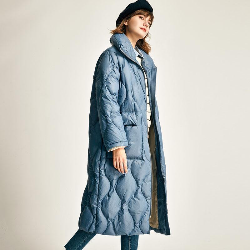 Jaqueta de inverno feminino 2019 quente ultra leve pato branco para baixo jaqueta feminina solta longo para baixo parka à prova de vento para baixo casacos