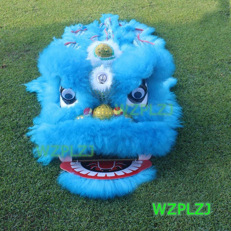Blue 12 inch Lion Dance Costume  Royal Suit  2-5 Age kid Children Cartoon Party Sport Outdoor Festival Parade Stage Mascot