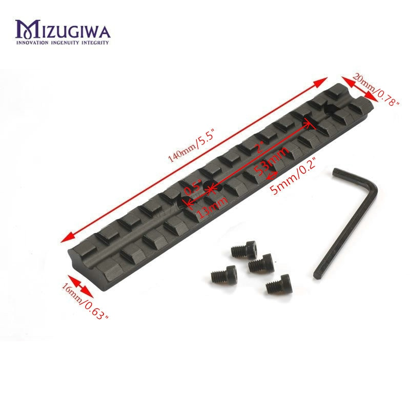 "MIZUGIWA táctico 13 ranuras 14cm 5,5 ""Weaver 20mm riel Picatinny soporte sobre riel para Mira Base 13 ranuras Rifle pistola escopeta de la serie 500.590.835"