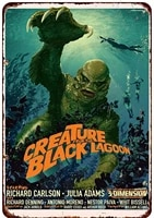 metal tin sign creature from the black lagoon family room decoration retro poster square metal tin wall sign 8x12 inches