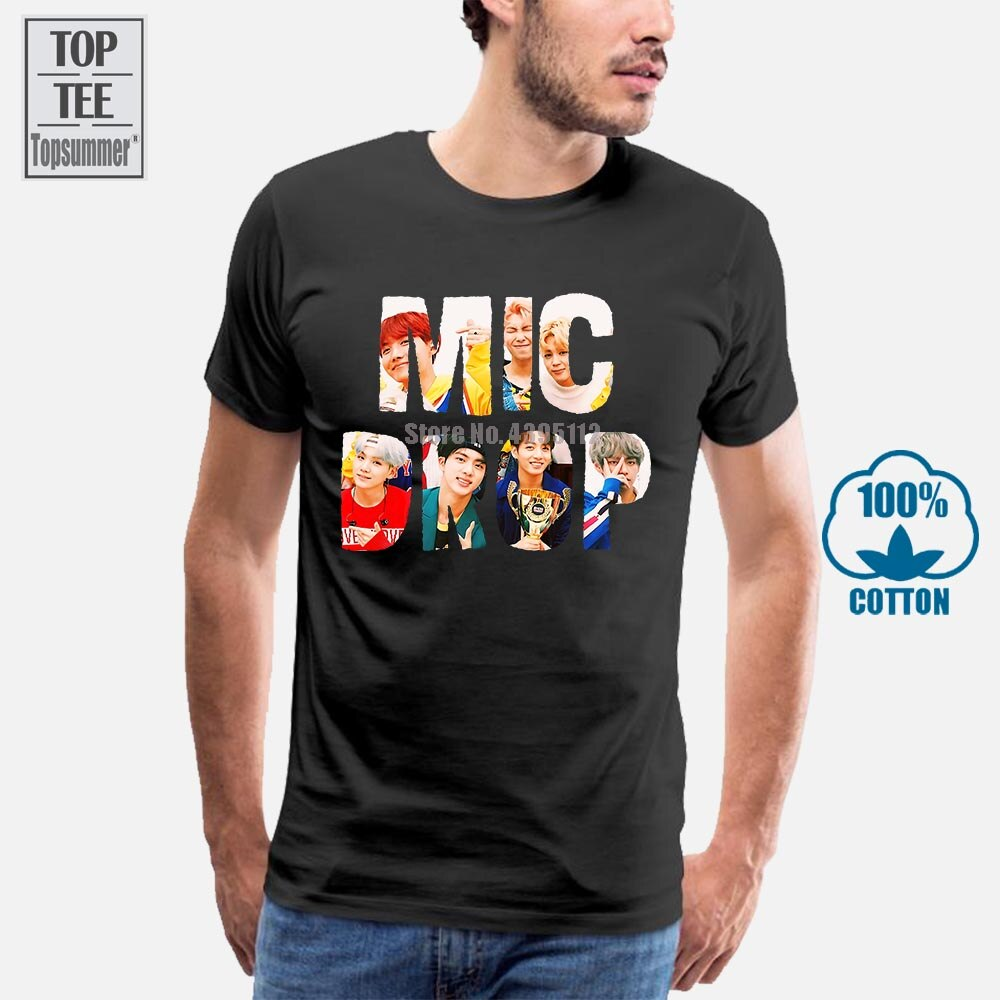 Mic Drop футболка Bangtan Mic Drop футболка Kawaii Green Женская футболка уличная мода принт 100 хлопок женская футболка