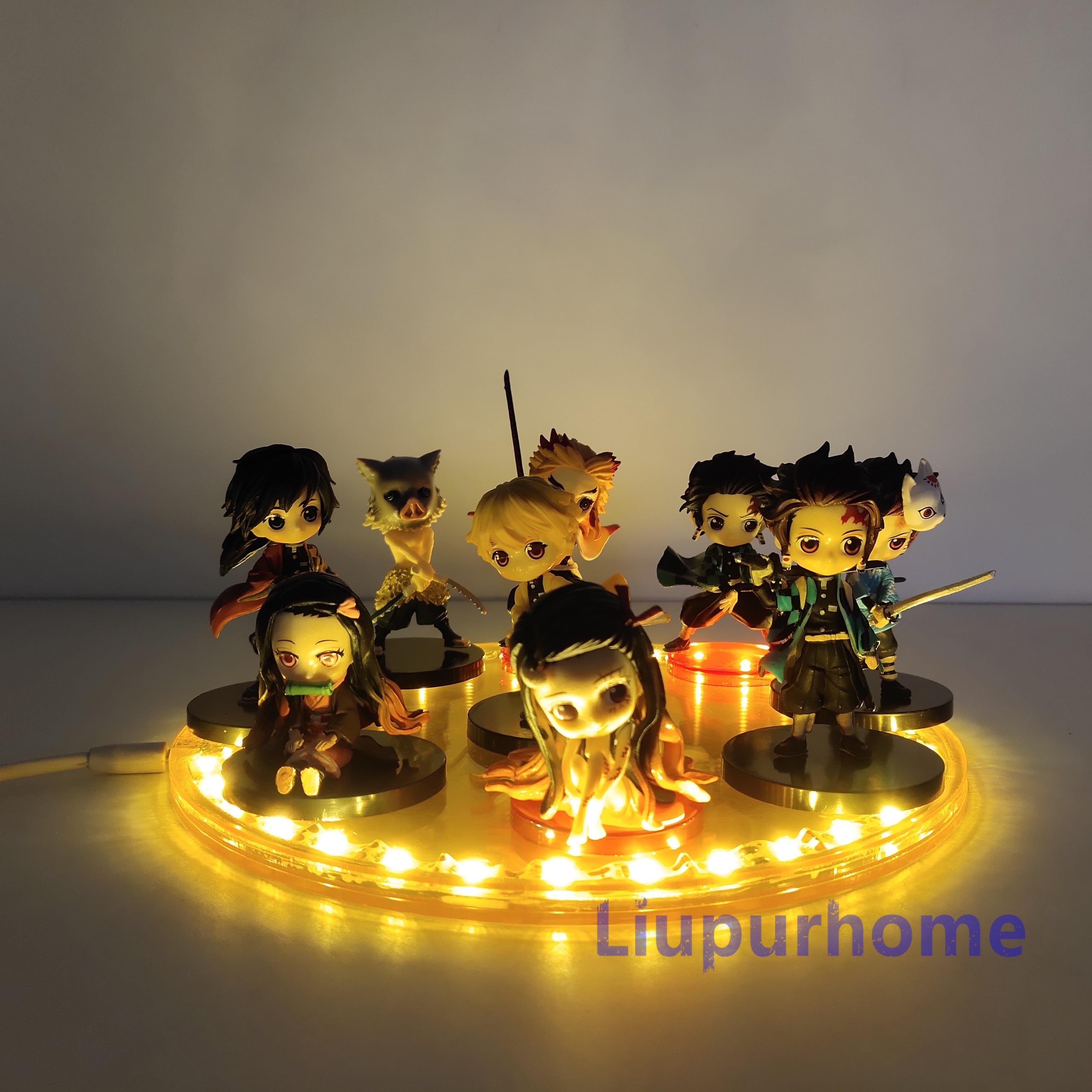 Demônio slayer led night light tanjirou nezuko zenitsu anime estatueta lampara kimetsu não yaiba crianças brinquedos presentes figma quarto lâmpada
