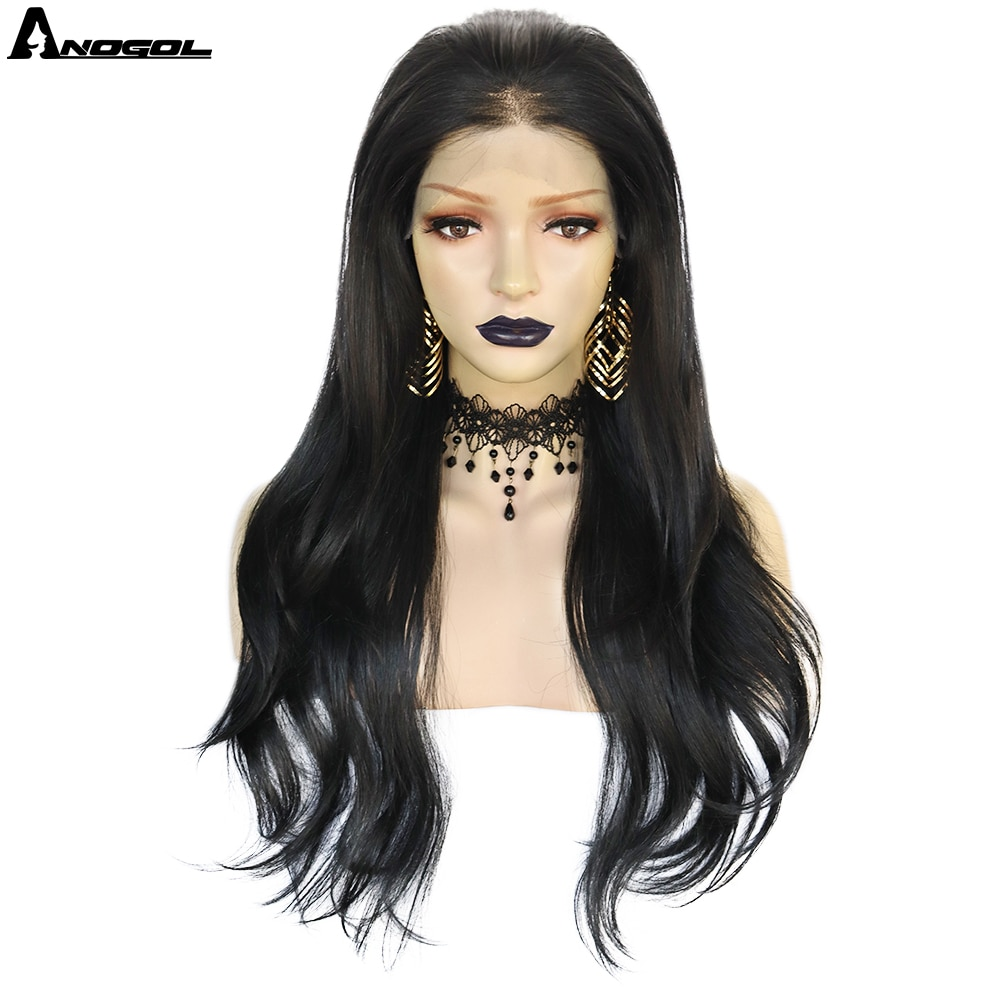 ANOGOL Lace Front Wigs Long Straight Synthetic Wigs for Black Women Natural Density Black Straight Wig Heat Resistant Fiber Hair