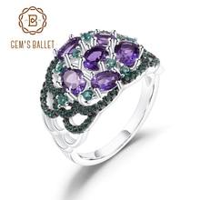 GEMS BALLETT Solide 925 Sterling Silber Art Deco Finger Ring 1.97Ct Natürliche Amethyst Birthstone Ringe Für Frauen Geschenk Edlen Schmuck