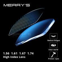 MERRYS lentilles optiques Anti-lumière bleue B2   Lentilles optiques 1.56 1.61, lentille de Prescription pour la myopie lentilles minces HMC