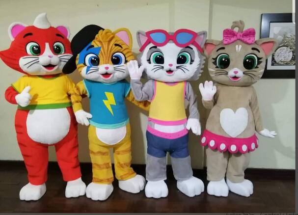 Hot Sale New Custom Made cat mascot costume 44 cats Mascot Costume For Adult Free Shipping