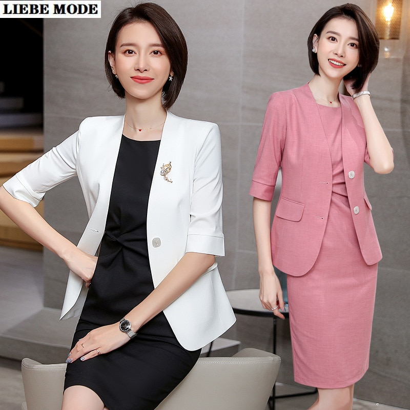 Womens Business Formal Suits Women 1/2 Sleeve Blazer Dress Two Piece Set Dress and Jacket Black White Pink Office Dresses Suit