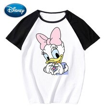 Disney Stylish Daisy Duck Cartoon Print O-Neck Pullover Short Sleeve Contrast Color Unisex T-Shirt Tee Tops XS - 3XL 11 Colors
