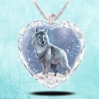 exquisite fashion creative elegant crystal glass shining eyeball woman necklace snow wolf pendant charm jewelry 2021 trend