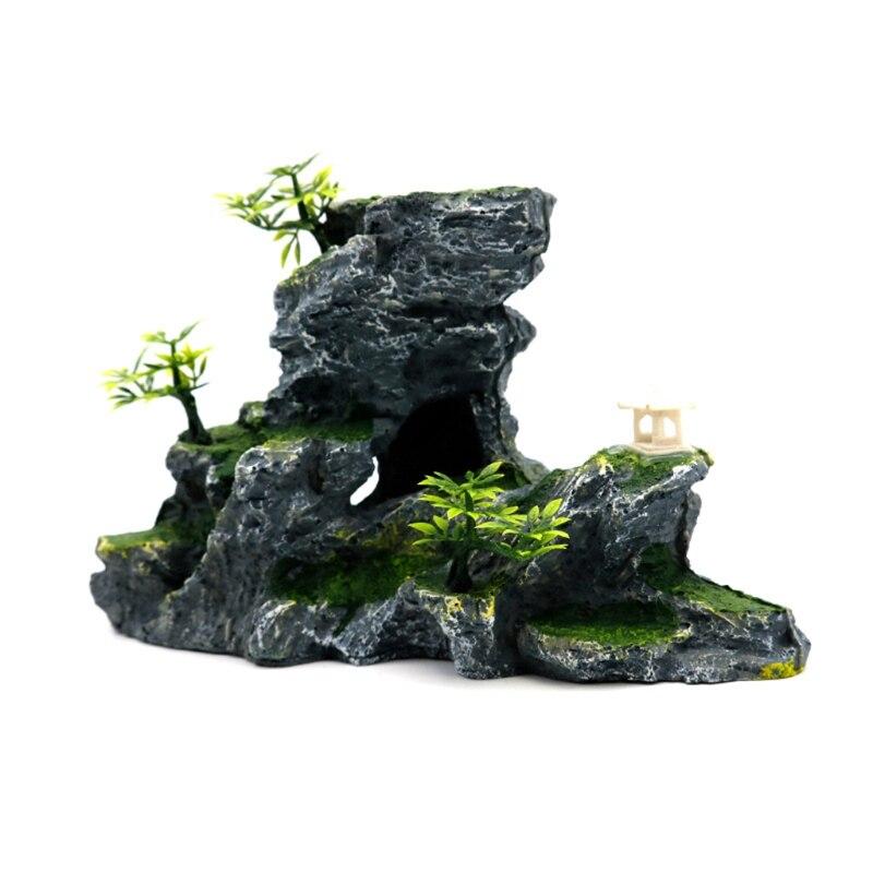 Acessórios de Decoração Resina Rockery Aquarium Artificial Mountain Hill View Rock 50jd