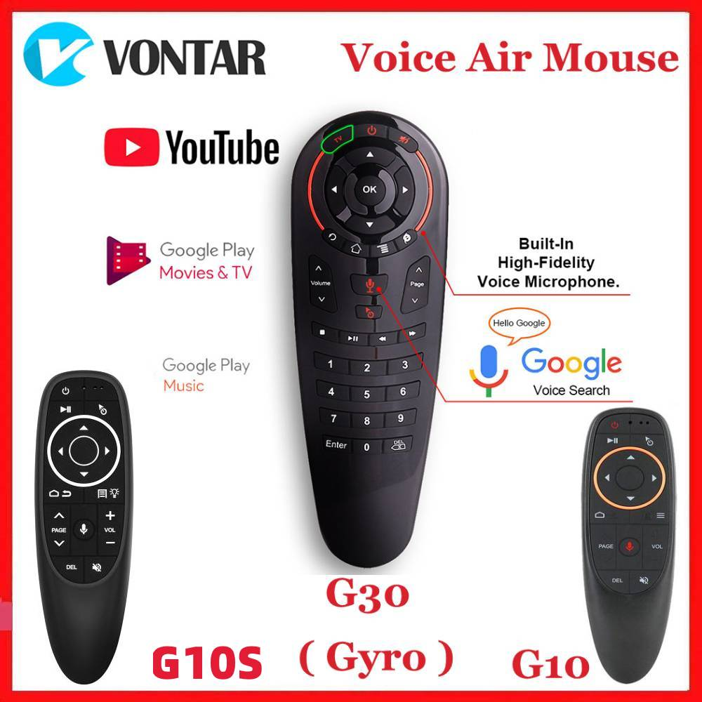 G10 G10S G30 Google Voice Remote Control Gyro Sensing IR Learning Mini 2.4G Wireless Air Mouse Keybo