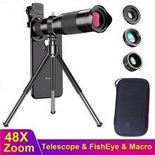 Tongdaytech 48X HD Mobile Phone Zoom Camera Lens Fish Eye Macro Lens for Iphone Samsung Smartphone Lentille Lente Para Celular