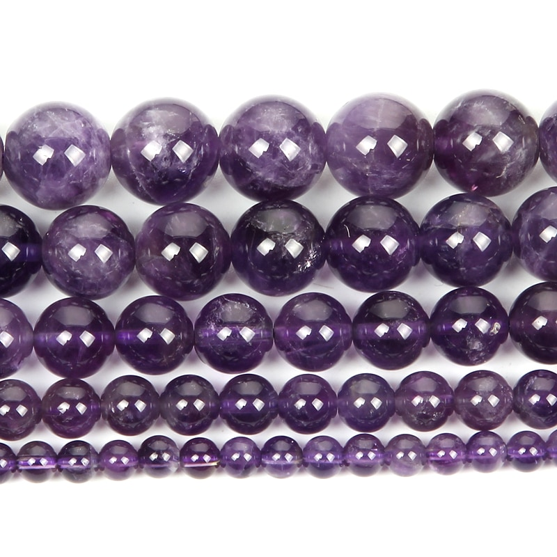 Cuentas redondas de piedras naturales de 4-12mm, amatistas lisas, ágatas, cuentas sueltas para hacer joyas, collar de pulsera de abalorios DIY hecho a mano