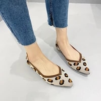 women knitted flats shoes breathable spring autumn new pointed toe loafers colorful office soft female fashion casual leopard