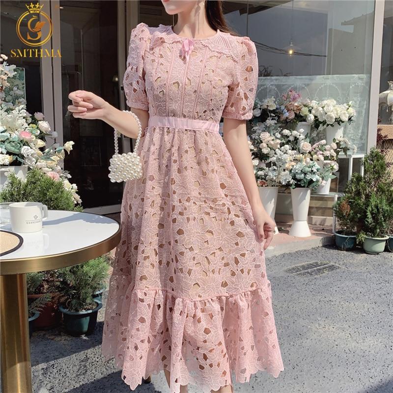 الوردي تفريغ الدانتيل فستان المدرج للنساء س الرقبة نفخة قصيرة الأكمام عالية الخصر منتصف طول فساتين الإناث ملابس الصيف الجديدة