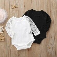 0-24M infantile bébé à manches longues dentelle barboteuses coton enfants filles combinaison vêtements nouveau-né
