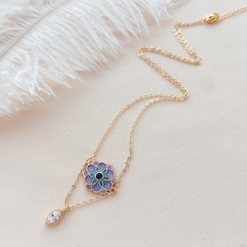Ccijing delicado e elegante cor roxo flor colar pequeno e adorável jogo diário sg1010