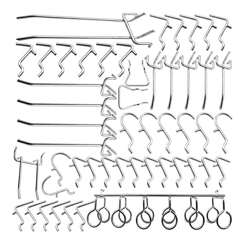 50 Piece Pegboard Hooks Assortment with Metal Hooks Sets,Hook Metal Pegboard,Peg Locks for Organizing Tools