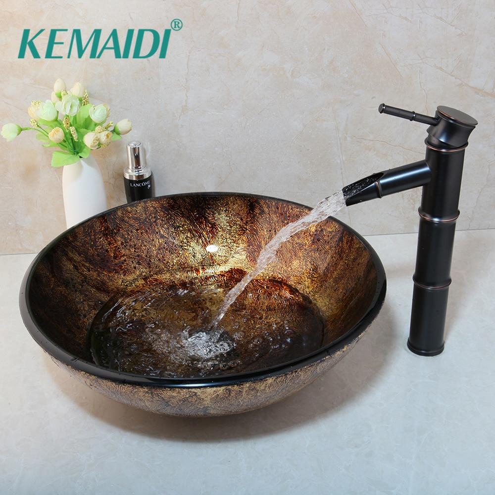 KEMAIDI-صنبور زجاجي دائري للحوض ، مجموعة زجاجية ، حوض حمام زجاجي ، ORB ، خلاط شلال من الخيزران الأسود