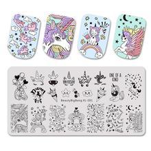 Beautybigbang Stamping Plates 6*12CM Cloud Star Cute Unicorn Pattern Nail Art Mold Tool Accessories Stamping Plate Print XL-081