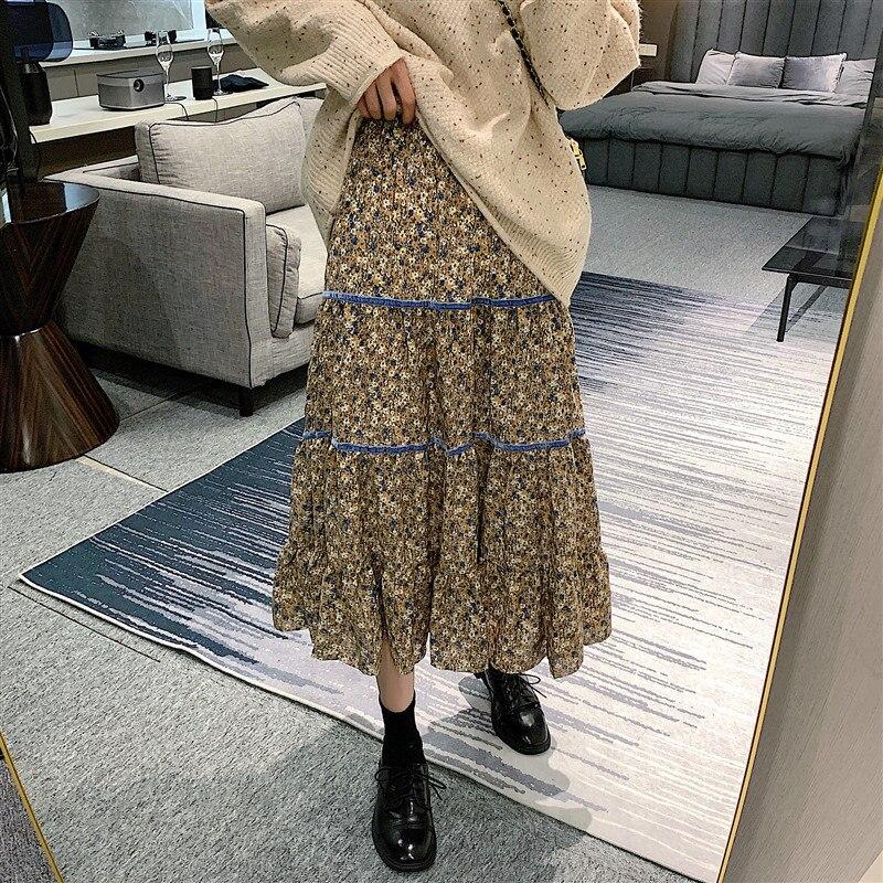 Alien Kitty 2020 Japanischen Süßen Samt Spitze Floral Rüschen Hohe Taille Elegante Schlanke Streetwear Hohe Qualität Büro Dame Röcke