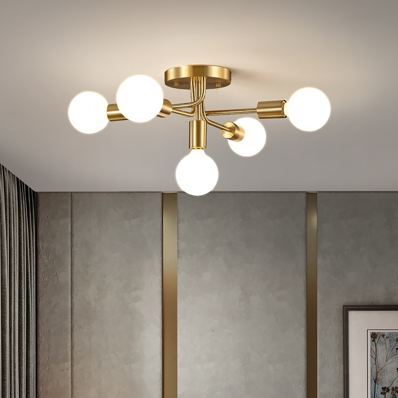 الحديثة E27 الثريات لغرفة المعيشة غرفة نوم الذهب/أسود أضواء السقف المنزل G95 الحليب/اديسون لمبة إضاءة داخلية ديكور السقف