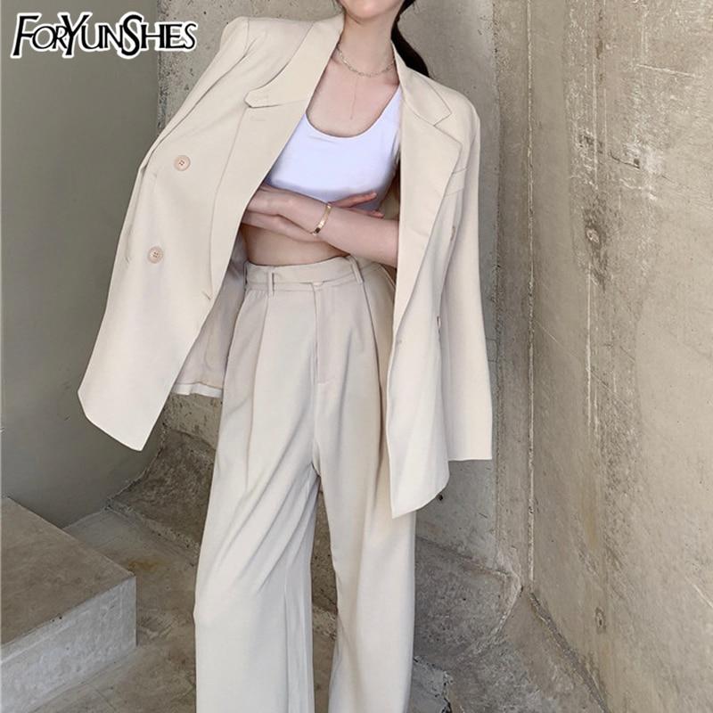 FORYUNSHES 2 Piece Set Za Women Blazer Jacket Ensemble Casual Wide Leg Straight Pant Suit Ensemble Female Clothing Trousers Sets