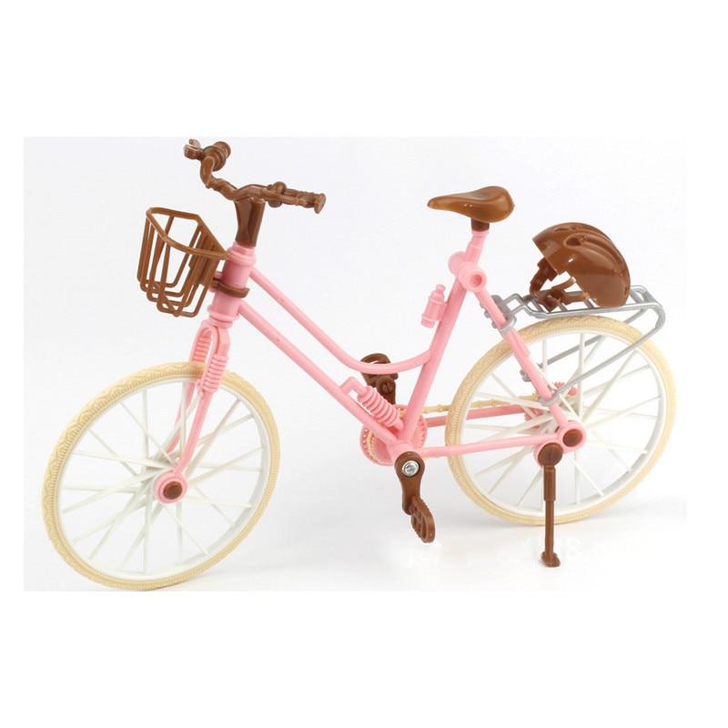Bonita bicicleta de moda de alta calidad, desmontable, bicicleta rosa con casco de plástico marrón para accesorios de muñecas