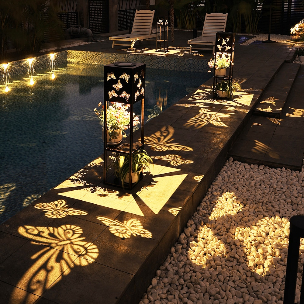 Solar Power Pathway Lights Solar LED Light Outdoor Landscape Iron Hollow Carving Lighting Double-deck Flower Stand Solar Lights enlarge