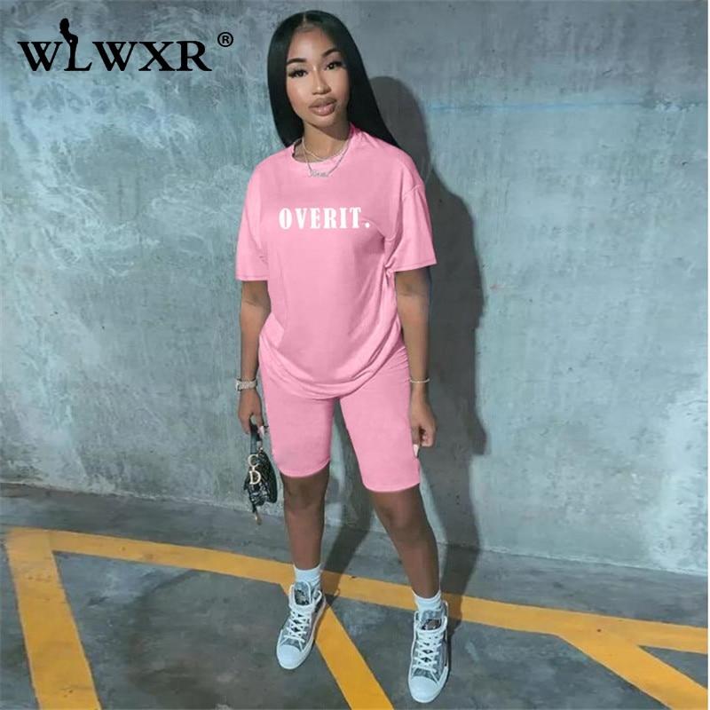 WLWXR Casual Two Piece Set Women 2 Piece Biker Shorts Set Summer Outfits Suit Oversized T Shirt Tracksuit Female Matching Sets