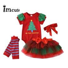 Imcute Neugeborenen Baby Mädchen Kleidung Erste Chritsmas Baby Kleidung Set Nette Mädchen Bodys + Plaid Rock + Stirnband + Socken 4PCS Outfits