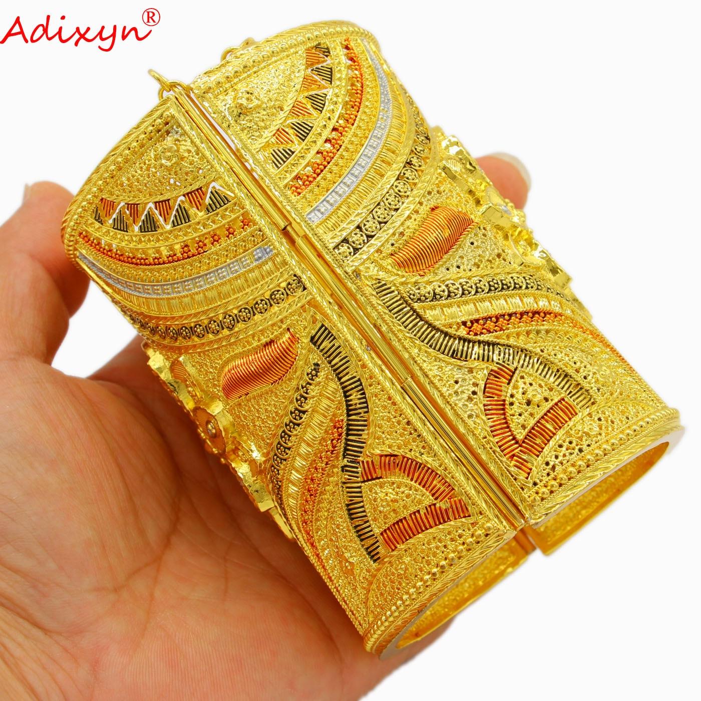 Adixyn عرض دبي أساور هندية لون الذهب كبير الكفة سوار للنساء الزفاف هدايا العربية الأفريقية N04281