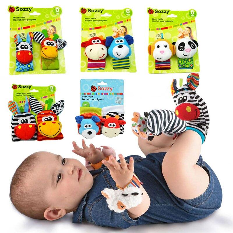 Детские игрушки 0-12 месяцев, мягкие игрушки, животные, детские носки, погремушки на запястье, детские погремушки, игрушки для новорожденных, ...