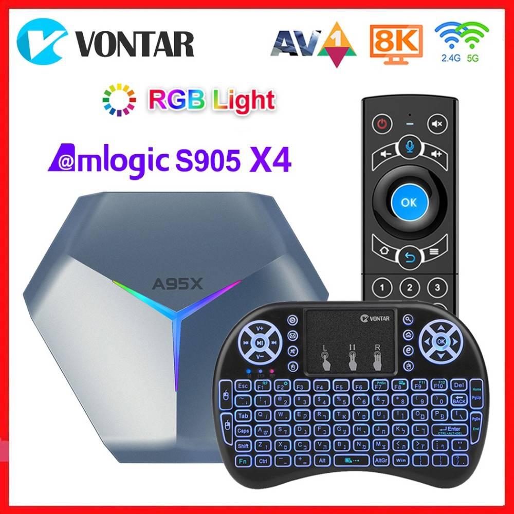 فونتار أندرويد 10.0 صندوق التلفزيون ماكس 4GB 128GB Amlogic S905X4 الذكية أندرويد 10 مشغل الوسائط RGB ضوء مزدوج واي فاي 8K A95X F4 مجموعة صندوق