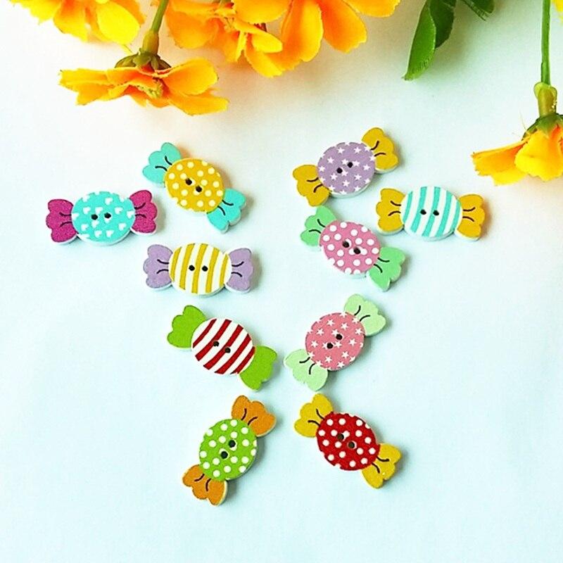 50 pzas/unids/lote botones de madera natural mezclados accesorios de scrapbooking accesorios artesanías (dulces) etiquetas con una caja como imagen