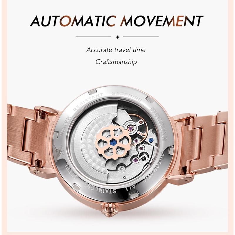 STARKING Fashion Women Watches Luxury Crystal Rhinestone Rose Gold Stainless Steel 5AM Waterproof Mechanical Dress Watch relogio enlarge
