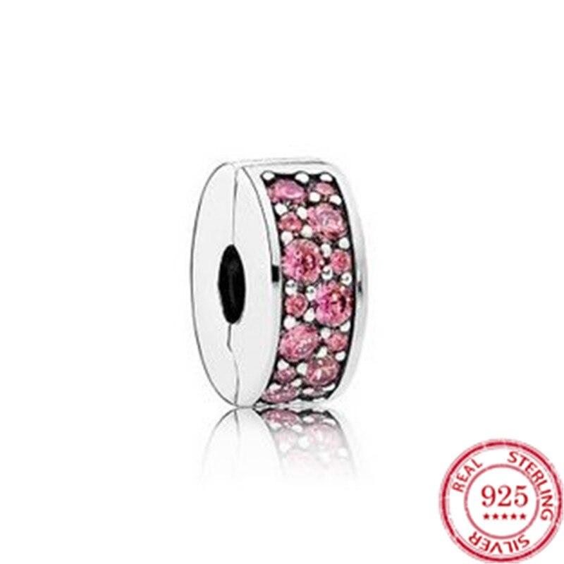Plata esterlina S925 oro rosa accesorios de cuentas para pulsera Pandora hebilla de posicionamiento hebilla espaciador cuentas de hebilla fija