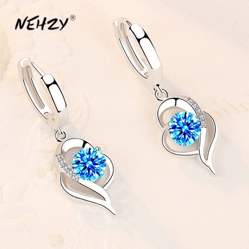 NEHZY 925 Sterling Silver New Woman Fashion Jewelry High Quality Blue Pink White Purple Crystal Zirc
