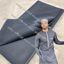 Tissu Atiku pour hommes africains   Matériel gris pour hommes, nigéria Atiku pour hommes, tissu polonais atiku de 5 yards