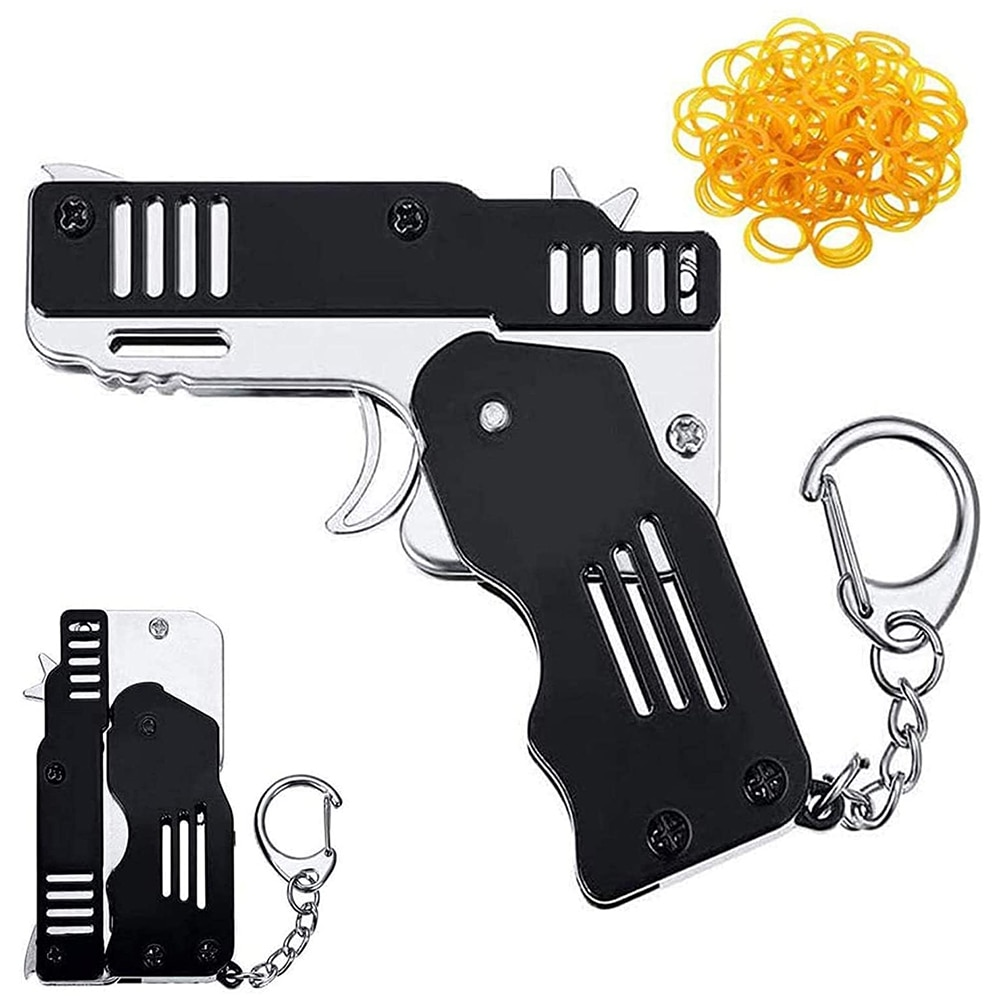 Mini Folding Stainless steel Rubber Band Launcher Gun Hand Pistol Guns Shooting Toy Gifts Boys Outdoor Fun Sports For Kids