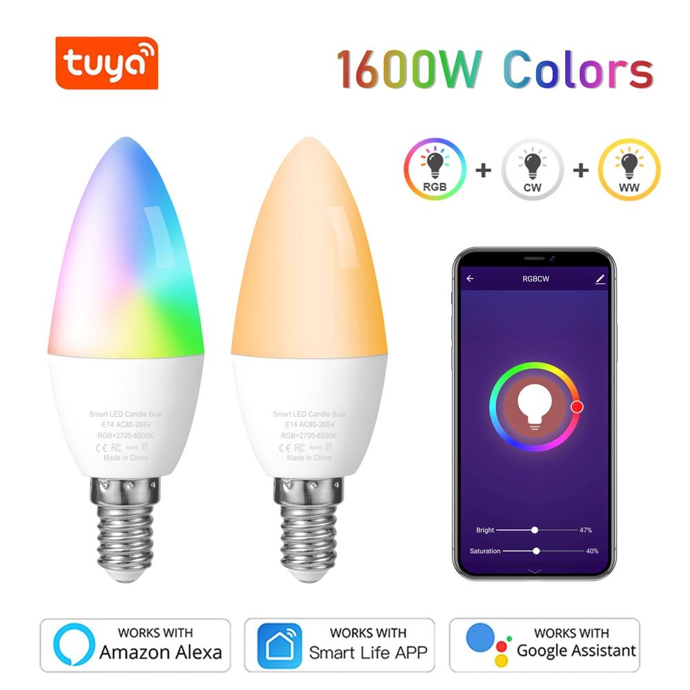 Tuya Smart Wifi Led-lampe E14, RGB Dimmbare Glühbirne 5W,, arbeit mit Alexa Echo Google Home Assistent, Keine Hub Erforderlich, 1 Packs