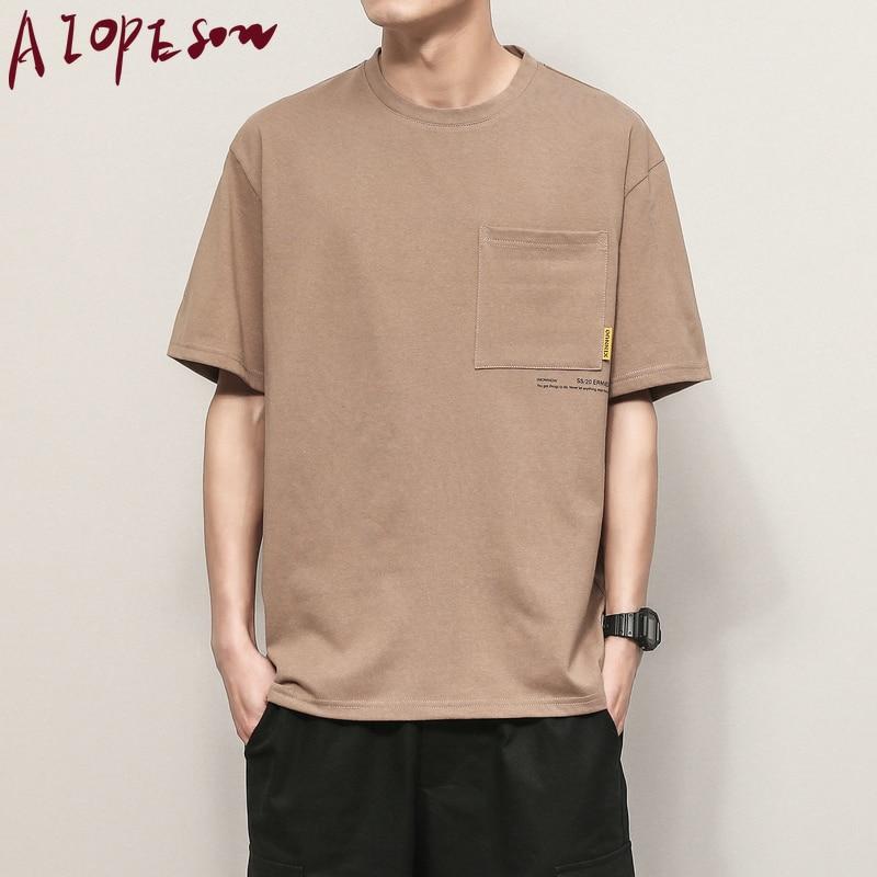 AIOPESON 2020 Sommer Neue T-shirt Männer Kleidung Einfarbig Lose Kurzarm T Shirts Mens O Kragen Baumwolle Atmungsaktiv Männer T Shirt