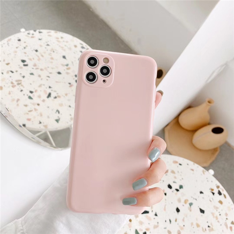 Retro Solid color Simple Korean Couple Glossy Phone Case for iphone 11 Pro Max XS MAX XR X 7 8 Plus SE 2020 case Silicone cover  - buy with discount