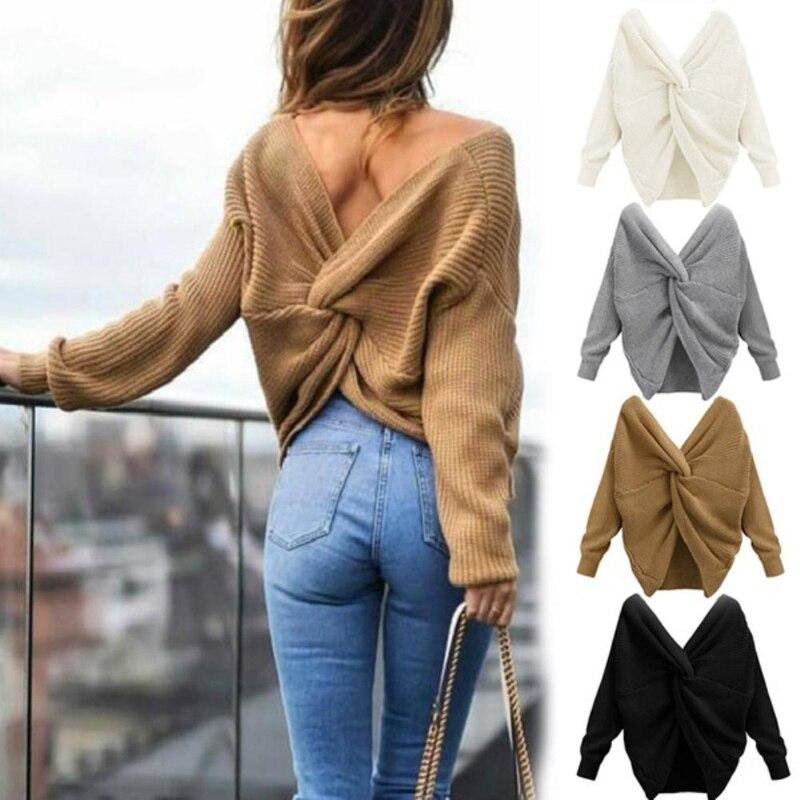 Jersey sexi de Color liso para mujer cuello en V espalda trenzada jersey con nudos manga larga Jersey holgado de talla única cálido jersey de chica