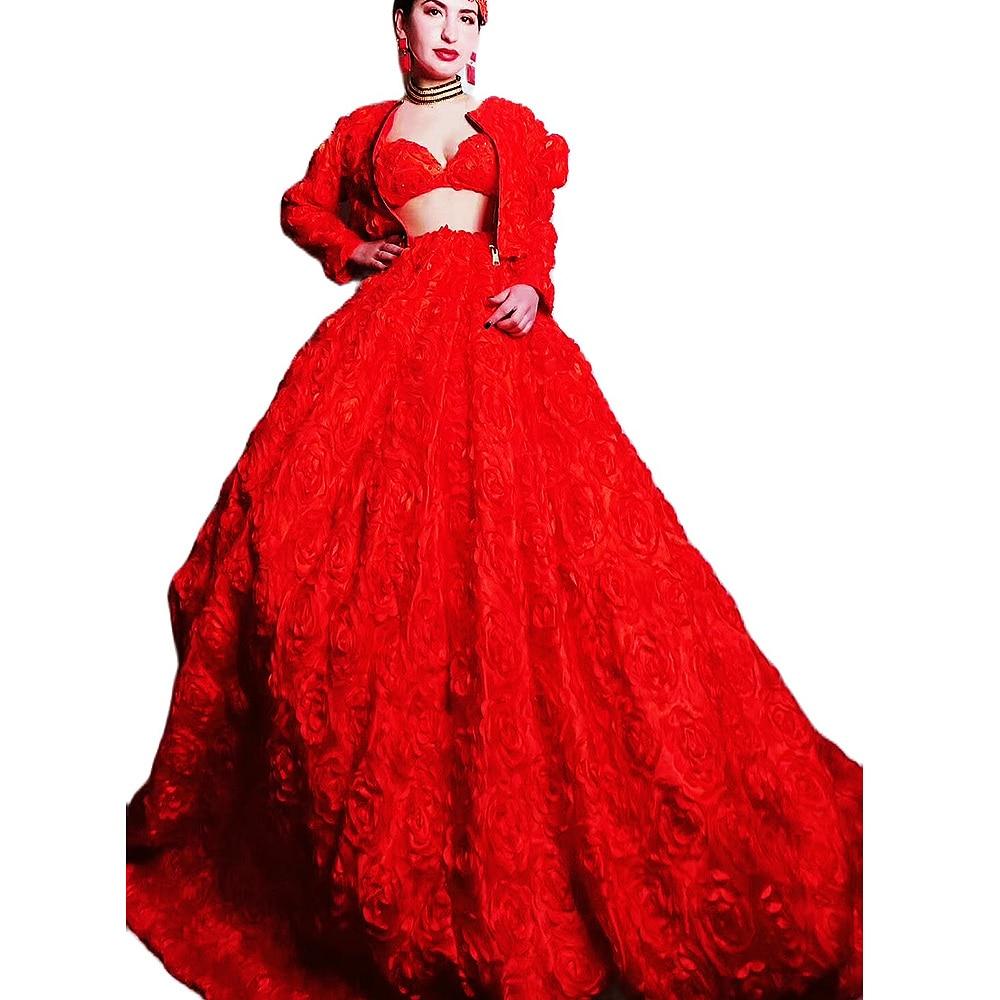 رصع الأحمر زهرة المرأة البرازيلي طويل الذيل فستان طويل الأكمام معطف ثلاث قطع مجموعة Vintage زي كلاسيكي عيد ميلاد حفلة موسيقية الزي