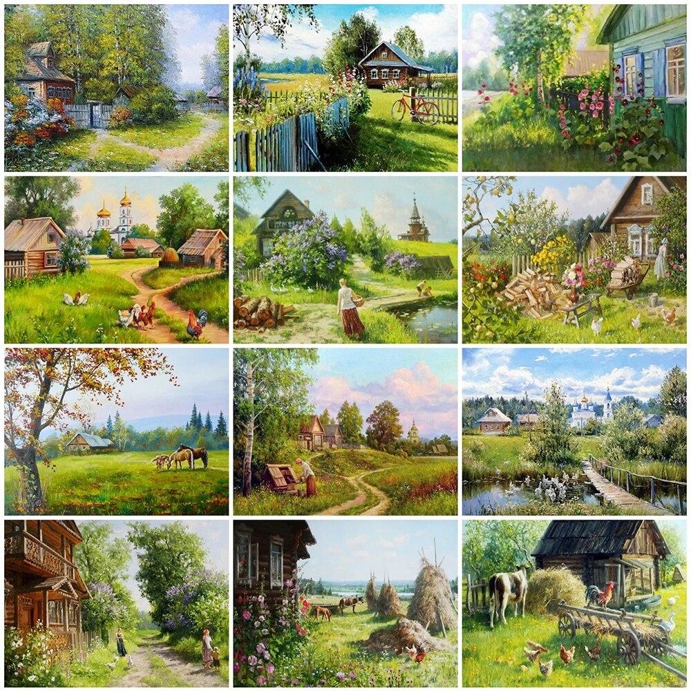 Алмазная 5D Вышивка «сделай сам», пейзаж деревни, мозаика, искусство, алмазная живопись, ферма, пейзаж, вышивка крестиком, настенные картины, ...