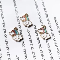 10pcs rainbow clouds crystal necklace charms pendant for necklace making diy jewelry making gifts jewelry wholesale