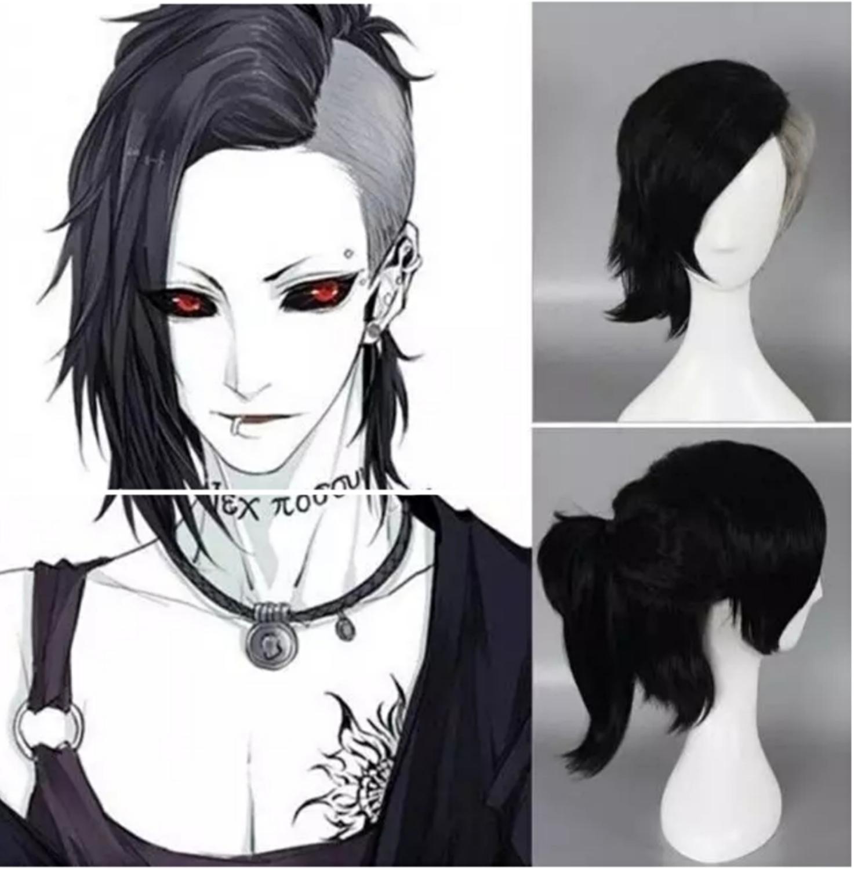 Tokio ghul mężczyzna COS peruka maska ekspres Uta peruka krótki czarny i srebrny szary Anime Cosplay peruki + peruka cap