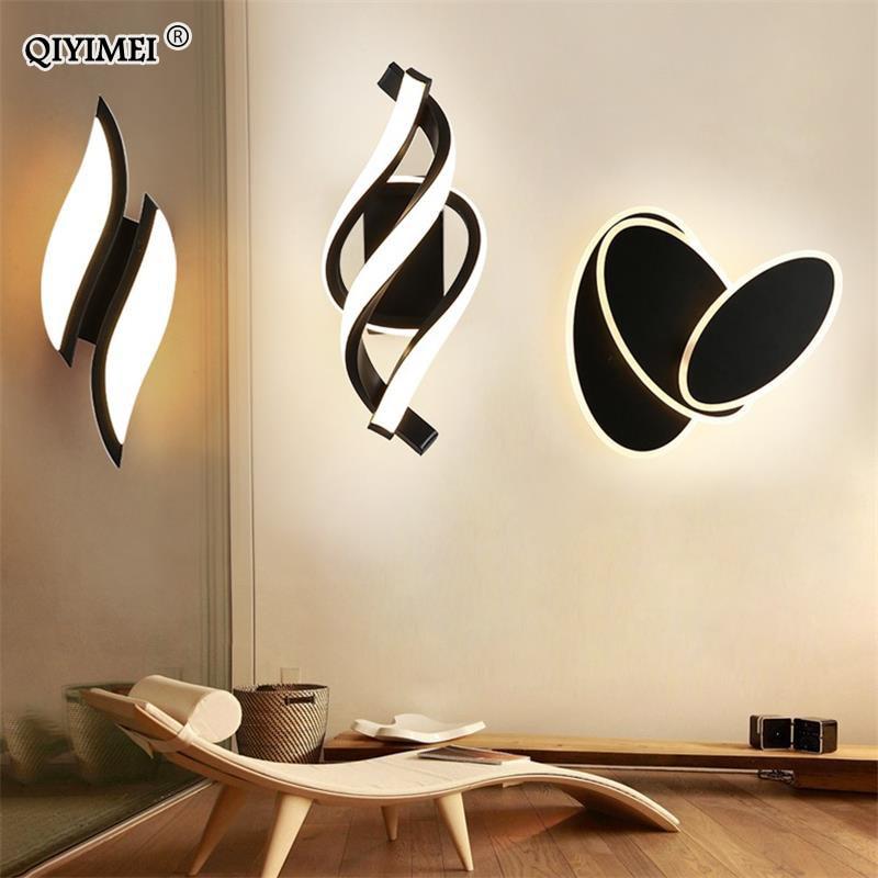 QIYIMEI الحديثة وحدة إضاءة LED جداريّة مصابيح تدور أبيض/أسود إضاءة داخلية لغرفة النوم قاعة دراسة أضواء غرفة المعيشة تركيبات المدخلات 90-260 فولت